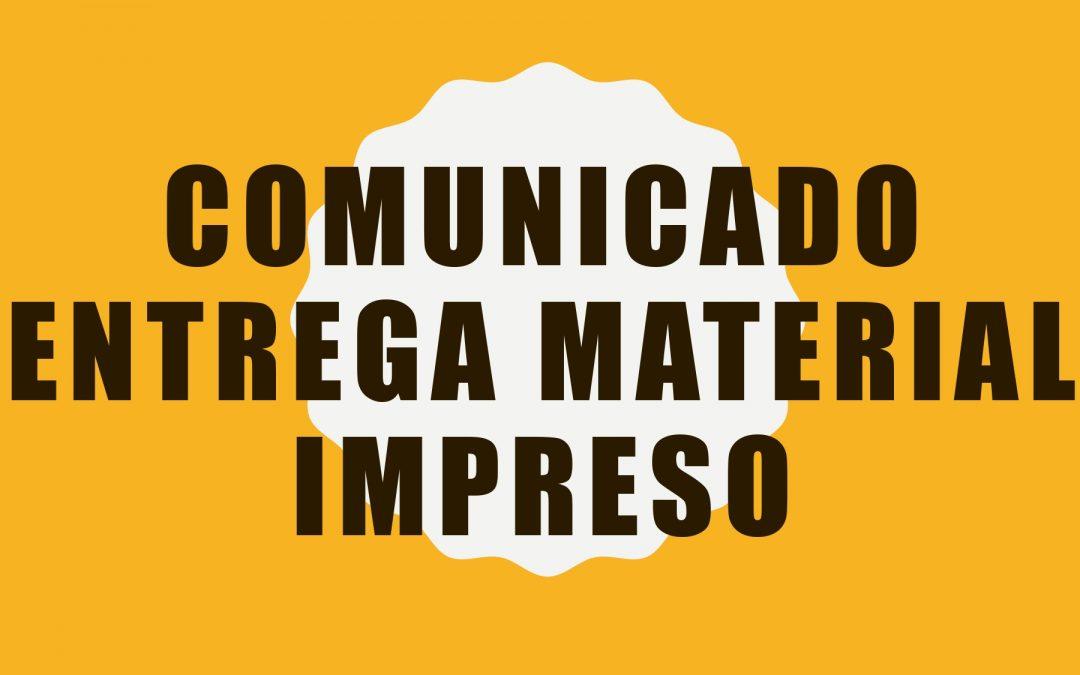 Comunicado Entrega de Material Impreso.